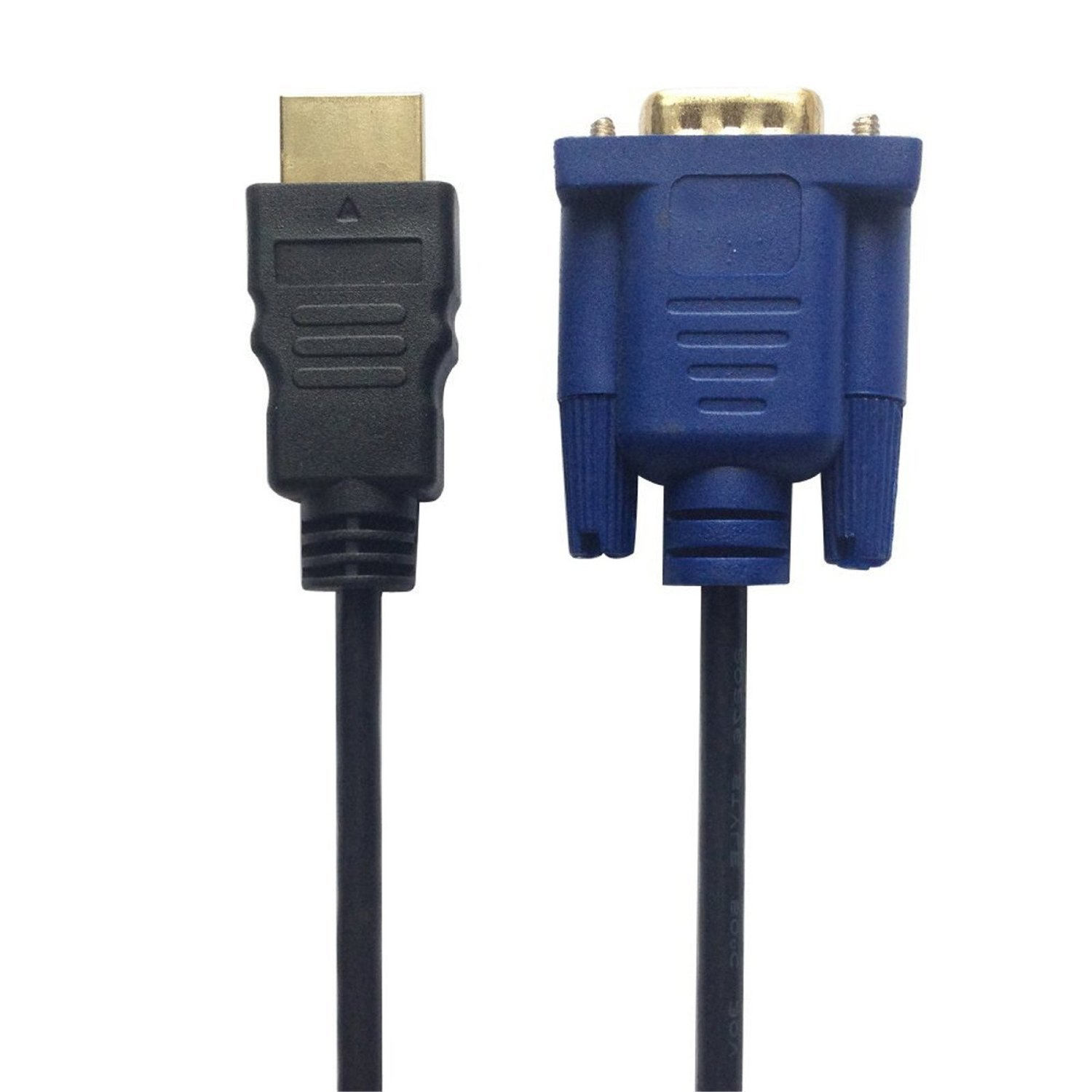 HDMI to VGA Cable 6ft, Candle2017 1.8 Meters HDMI Male to VGA Male D-SUB HD 15 Pin M/M Adapter Connector Cable (blue)