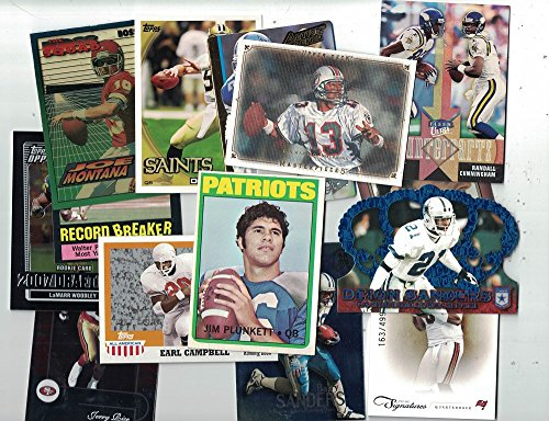 (100 Football Cards Collection - New & Vintage Trading Cards Collection with Secure Packing - Hall Of Famers, Rookies, Inserts, Numbered & Refractor - Each Pack is Unique - Best Football Gift)