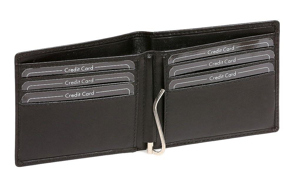 LEAS Portefeuille avec clip pour billets Pinces à billets Money Clip, cuir véritable, noir Special Edition\'\' JOCKEY CLUB LE1704-06-01