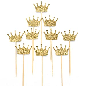 Crown Cupcake Cake Toppers Gold Glitter,20 Pcs Cake Decoration for First Birthday, Birthday Party,Baby Shower Wedding Food Decor and Cupcake Party Picks