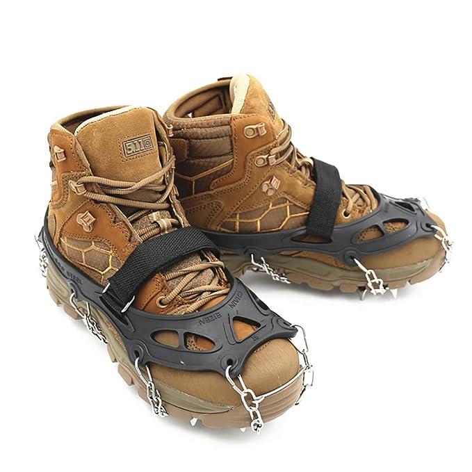 Garras de nieve Garra de hielo Antideslizante Zapatos de escalada Crampones de acero inoxidable 19 Dientes Cadena de acero Puños de hielo Picos Tipo de ...