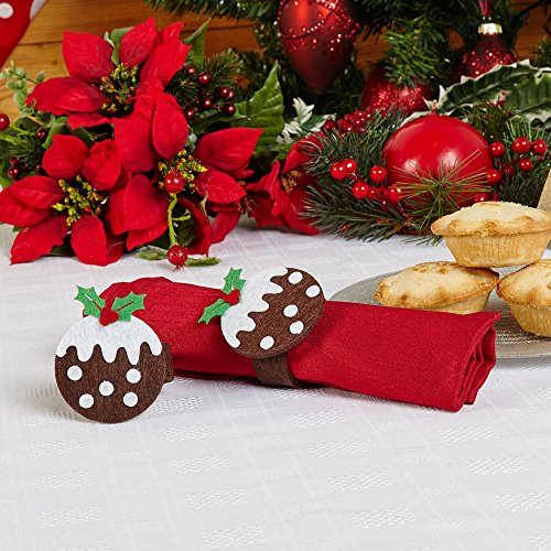 Neviti Christmas Pudding Felt Napkin Rings 4 ()