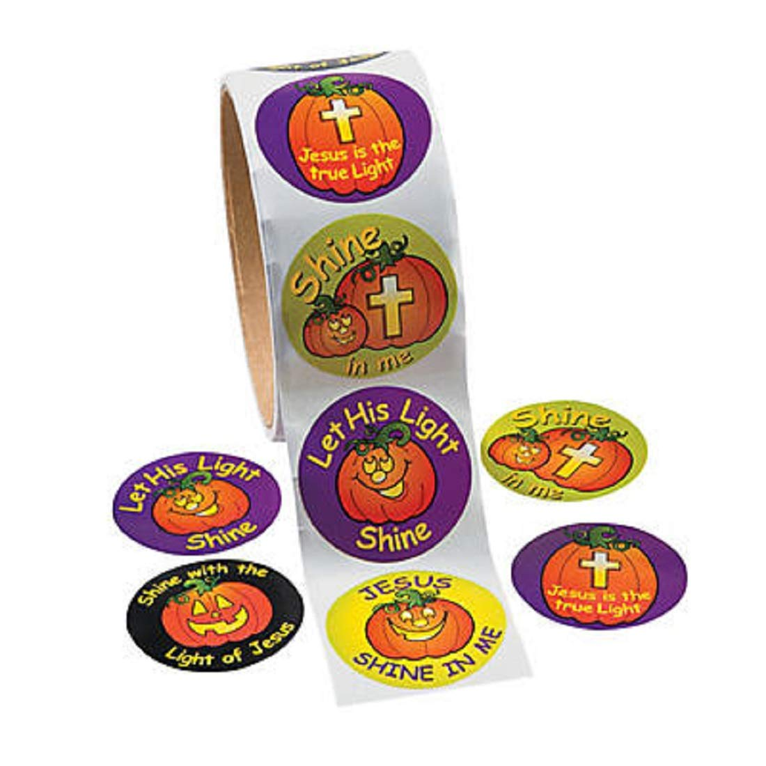 Shine with Jesus Halloween Christian Pumpkin Stickers oriental trading 13605981