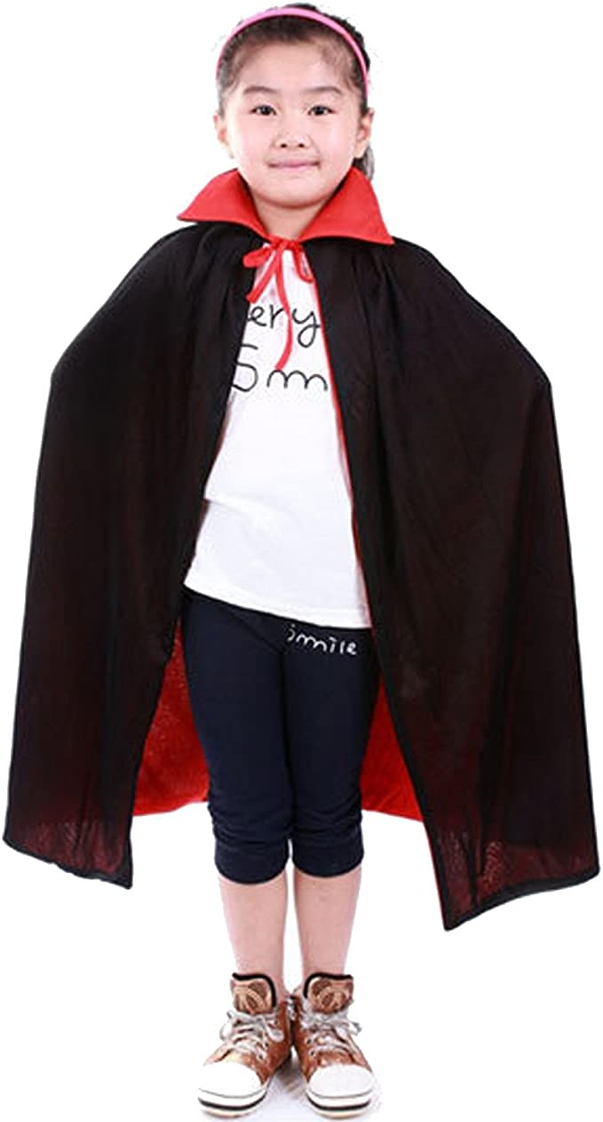 Adult Kids Halloween Cape Vampire Dracula BLACK AND RED Fancy Dress Party