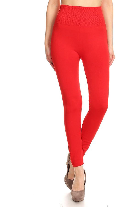 Leggings Mania Women's Solid Fleece Lined Extra High Waist Slimming Band Leggings - Regular or Plus