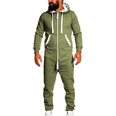 28277d93a Amazon.com  Men s Unisex Soft Warm Onesie Hoodie Jumpsuit One Piece ...