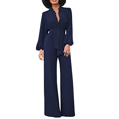the latest 64036 8ecc2 semen Damen Jumpsuit Business Langarm Suit Schlank High Waist Festlich Tief  V-Ausschnitt Anzug Abendmode Partywear