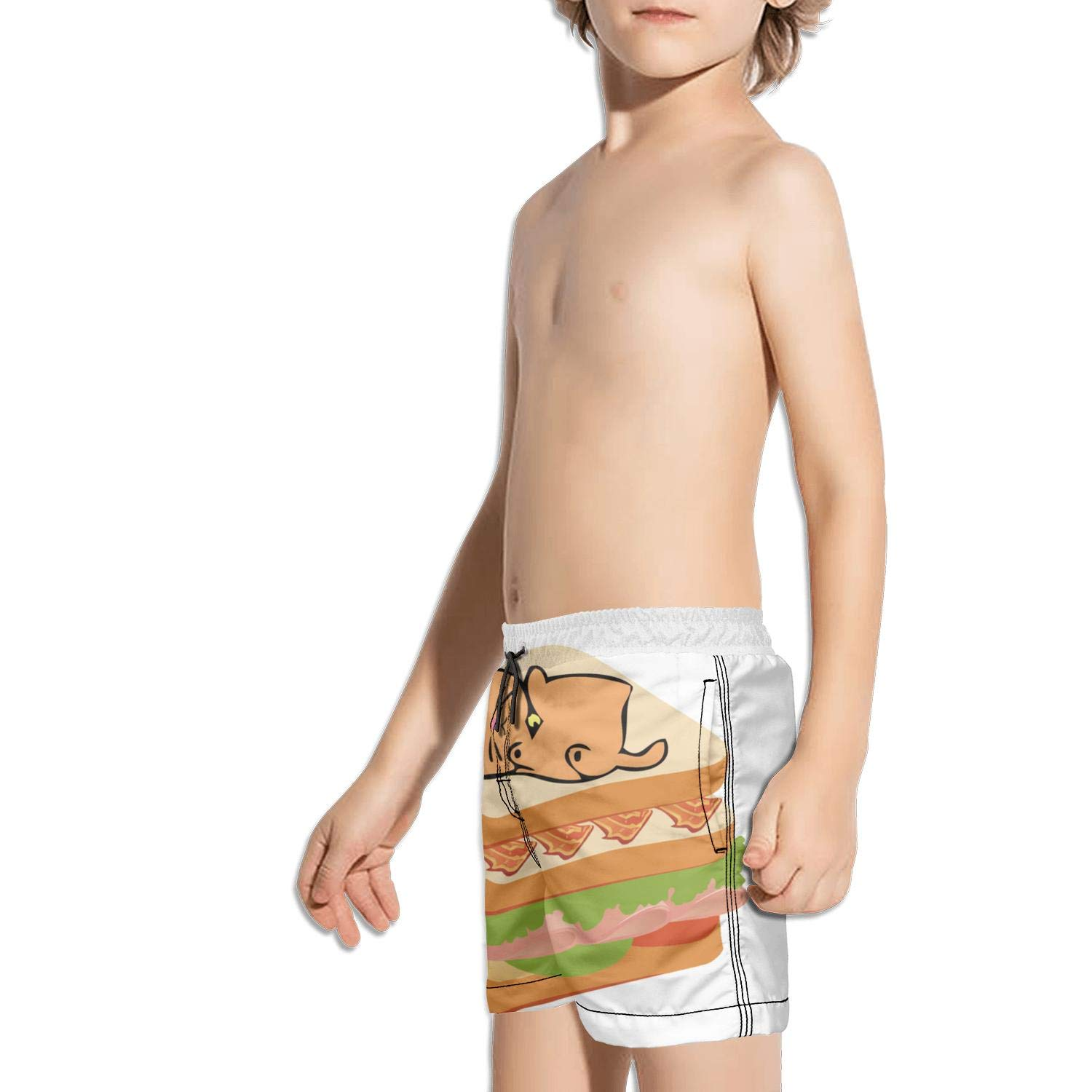 Landayboys Boys Summer Swim Trunks Beach Shorts Bacon Kittens Quick Dry Swim Trunks