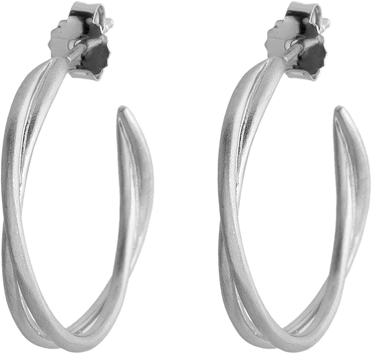 Pernille Corydon Pendientes de aro trenzados de oro – Serie Paris Pendientes de plata 925 – E569s