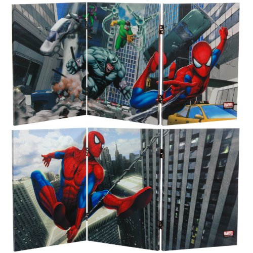 Oriental Furniture 2 ft. Tall Double Sided Friendly Neighborhood Spider-Man Canvas Room Divider