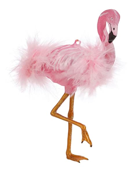 pink flamingo christmas ornament with pink feathers 625h - Flamingo Christmas