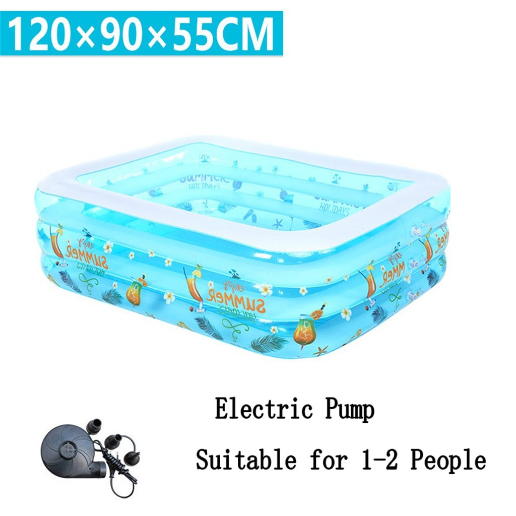 LQQGXL,Bath Small Inflatable Bathtub, Swimming Pool Children, Baby, Family Soccer, Electric Pool Sea Pool Suitable for 1-2 people (120 90 55cm) Inflatable bathtub ( Color : Electric Pump )
