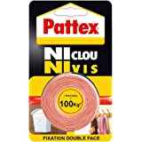 "Pattex Adhésifs Fixation ""Ni clou ni vis"" 120 kg 19 mm x 1.5"