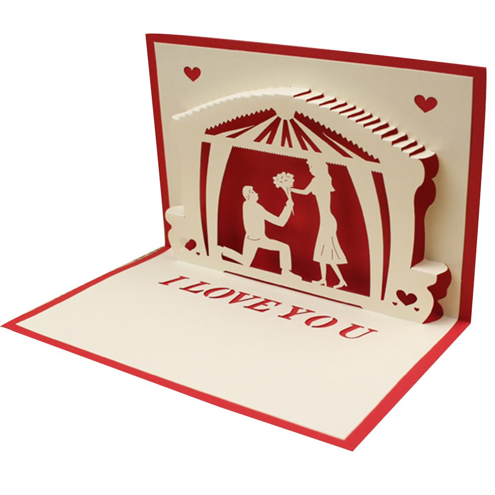 Dds5391 New I Love You 3D Pop Up Handmade Postcards Courtship Wedding Gift Greeting Cards - Red