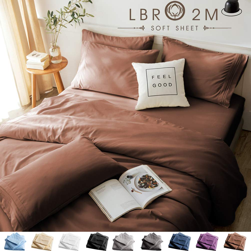 LBRO2M Bed Sheets Set California King Size 6 Piece 16 Inches Deep Pocket 1800 Thread Count 100% Microfiber Sheet,Bedding Super Soft Hypoallergenic Breathable,Resistant Fade Wrinkle Cool Warm (Brown)