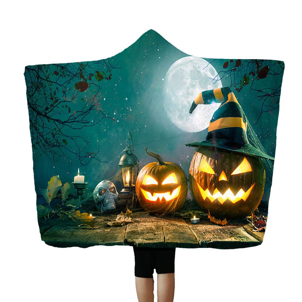 Flannel Blanket Soft Halloween Hooded Blanket 3D Funny Black Cat and Pumpkin Printed Wearable Blanket Soft Wrap Throw Blanket Lightweight Bathrobe One Size Fits All Happy Halloween-h, 59''x78.7'' by charmsamx