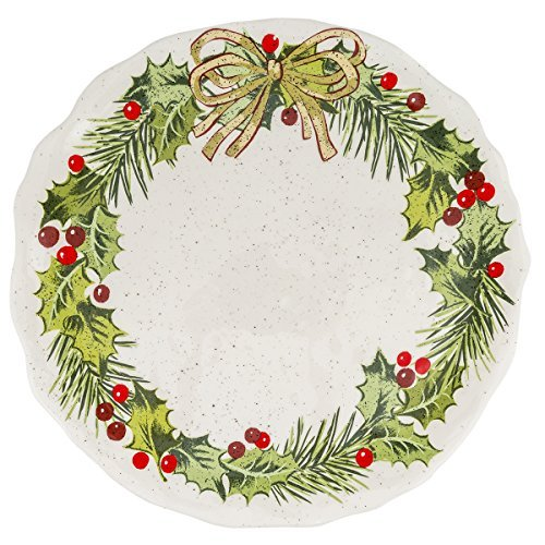 - Grasslands Road Christmas Pinewood Dishwear, Holly Accent Plate