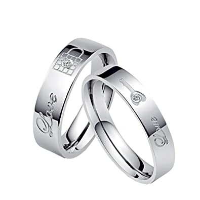 HIJONES Couple's Stainless Steel Love Wedding Bands Lock and Key Pattern Finger Crystal Ring Silver noJ70
