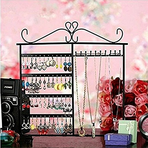 Adorox Jewelry Stand Organizer Earring Holder Necklace Hanger Wall Rack Black Classic Display