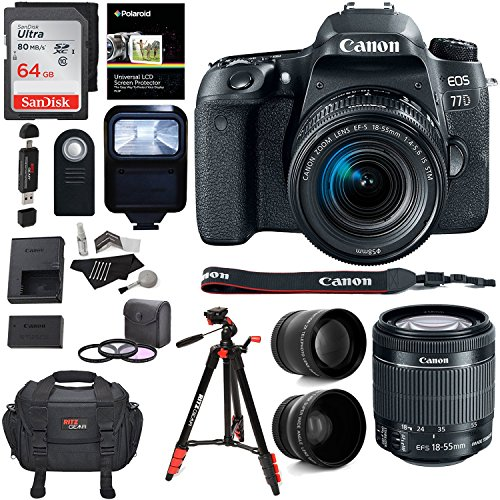 Canon EOS 77D Camera, EF-S 18-55 IS STM Lens, Sandisk 64GB M