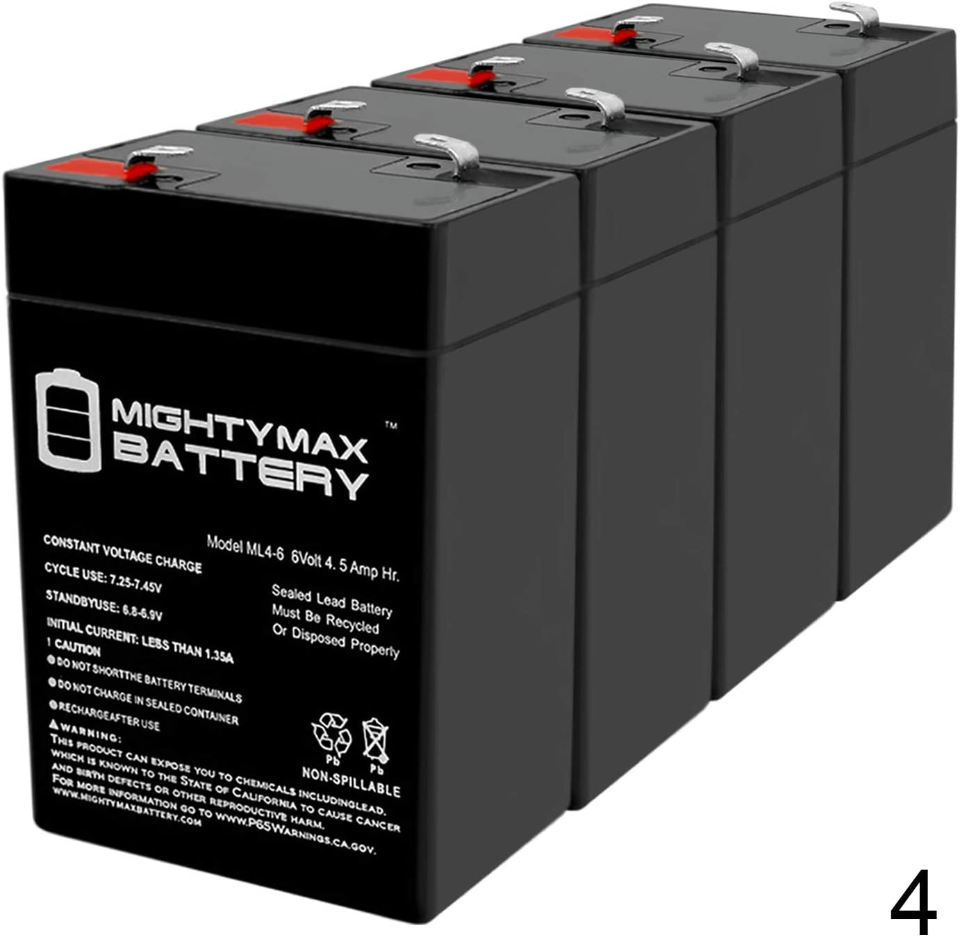Mighty Max Battery ML4-6 - 6V 4.5AH SLA Battery Replaces cp0660 gp645 lcr6v4p hk-3fm4.5 wp4-6 - 4 Pack Brand Product