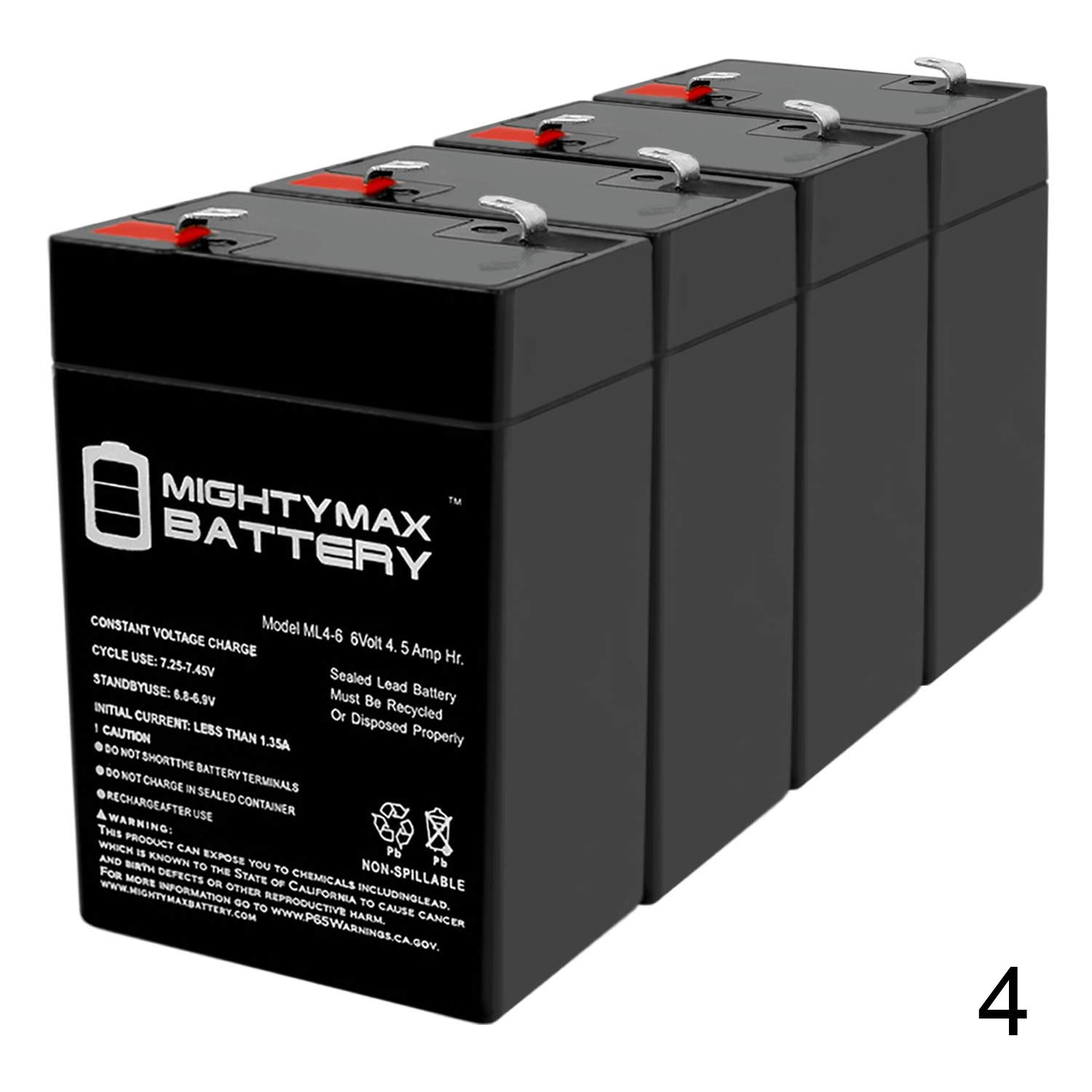Mighty Max Battery ML4-6 - 6V 4.5AH Replacement Battery for YT-645 with F1 Terminal - 4 Pack Brand Product by Mighty Max Battery