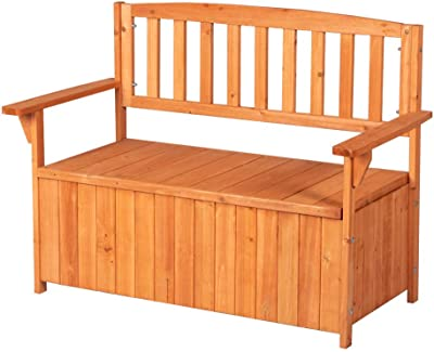 Good Life Outdoor Waterproof Garden Bench with Backrest Patio Storage Box All Weather Deck Box Cabinet Chair by Fir Wood LNG536