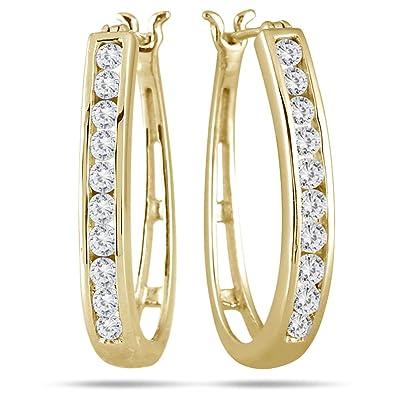 60a05753a AGS Certified 1 Carat TW Diamond Hoop Earrings in 10K Yellow Gold (K-L  Color,