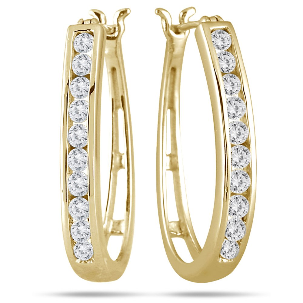 AGS Certified 1 Carat TW Diamond Hoop Earrings in 10K Yellow Gold (K-L Color, I2-I3 Clarity)