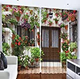 Living Room Curtains Spanish House European Architecture Picture Flowers in the Pot Garden Design Bedroom Living Dining Room Curtain 2 Panels Set Red Green White Brown