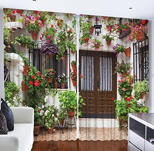 Living Room Curtains Spanish House European Architecture Picture Flowers in the Pot Garden Design Bedroom Living Dining Room Curtain 2 Panels Set Red Green White Brown Review