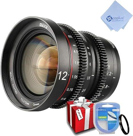 Meike MK-12 mm T2.2 - Lente de Enfoque Manual para cámaras M43 Micro Cuatro Tercios Olympus Panasonic Lumix y BMPCC 4K Zcam E2 con Filtro UV77 mm y Gamuza mcoplus: Amazon.es: Electrónica