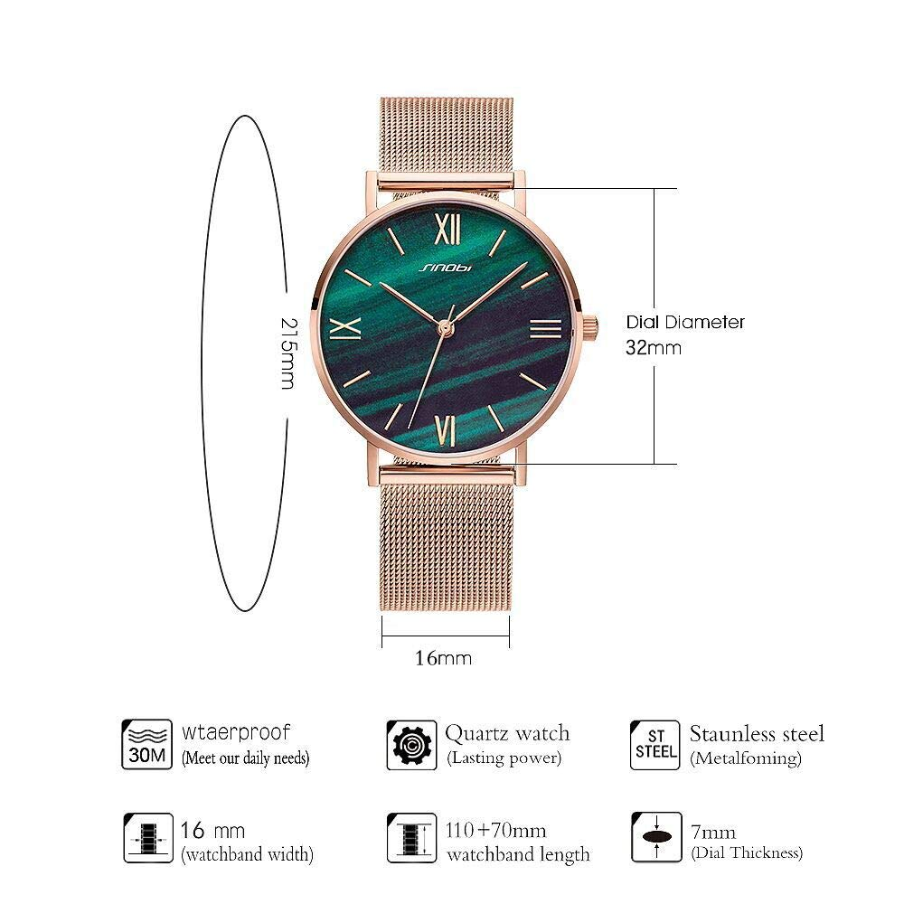 Amazon.com: SINOBI Creative Design Simplicity Women Watch Elegant Diamond Mesh Band Women Watches Ladies Wristwatch (S9709L-Green-Mesh Band): Watches