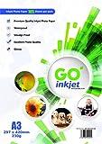 GO Inkjet®, carta fotografica ad alta lucidità in formato A3, impermeabile, compatibile con stampanti fotografiche e a getto d'inchiostro, 100 fogli più 5 fogli aggiuntivi, grammatura: 230 g/m², colore: bianco