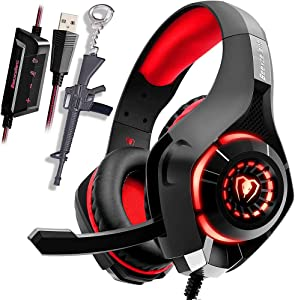 USB Gaming Headset PC with Stereo 7.1 Channel Virtual Surround Sound Computer Laptop Mac Gaming Headphones Over-Ear Noise Canceling Mic & LED Light for Mac Lapto for Kids Teenager Gamer