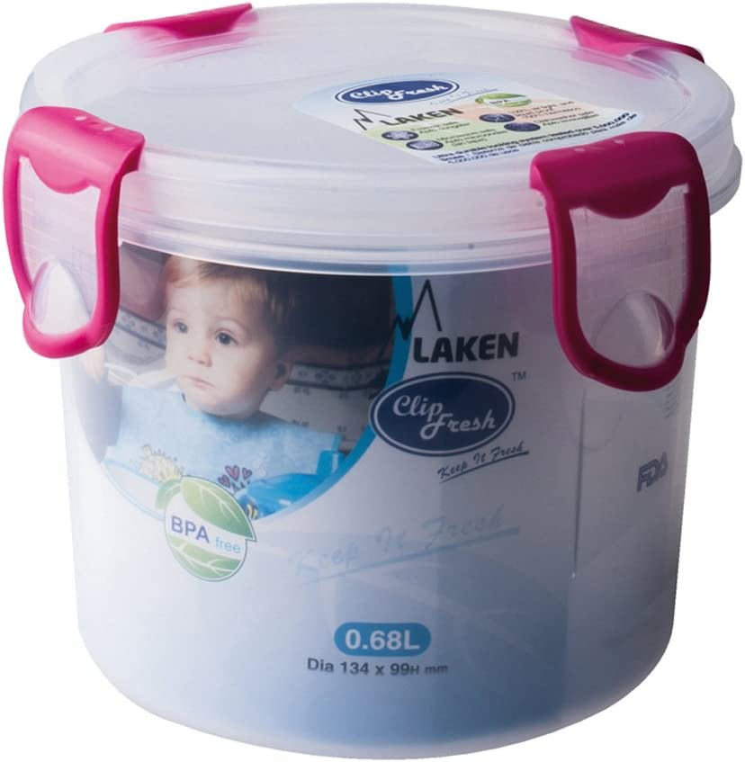 Laken Clip Fresh Food Storage Container Lunchbox 0.68L 2.9 Cups Round Pink