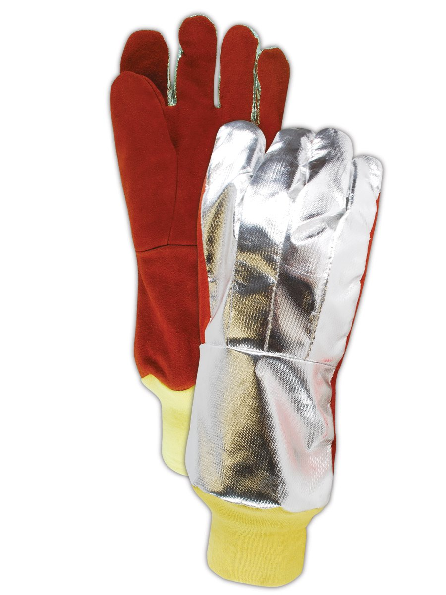 Magid Glove & Safety 7137SLBWLK WeldPro Aluminized Back Welding Gloves with Kevlar Knit Wrist, XL