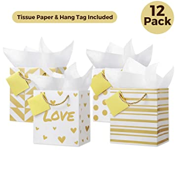 Gift Bags With Tissue Paper Small Set Of 12 4 Designs