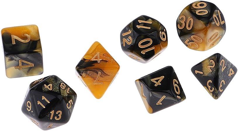 Magideal 7 Stk Polyedrische Würfel Set Für Dungeons Und Drachen D D Rpg Mtg Spiel Inkl D20 D12 D10 D8 D6 D4 Gelb Schwarz Amazon De Spielzeug