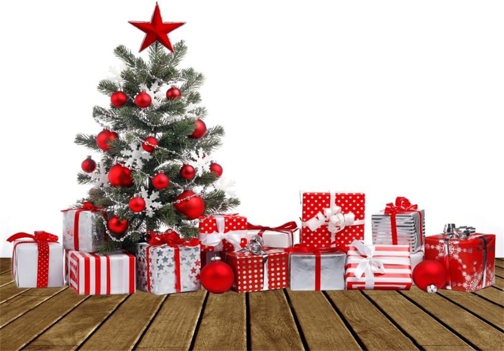 Leowefowa 7x5FT Christmas Backdrop Vinyl Photography Background Xmas Decoration Tree Santa Claus Vintage Window Gifts Hobbyhorse Curtain Rustic Wood Plank Interior Kids Adults Photo Studio Props