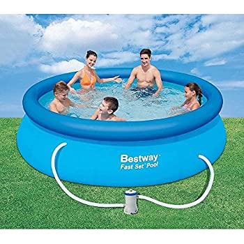 Bestway 10 39 Ft Round 30 In Deep Fast Set Inflatable Pool With Filter Patio Lawn