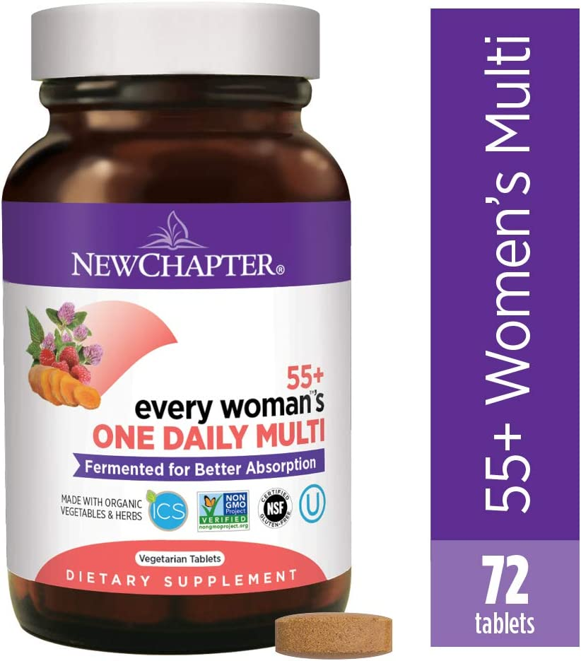 New Chapter Multivitamin for Women 50 plus – Every Woman s One Daily 55 with Fermented Probiotics Whole Foods Astaxanthin Organic Non-GMO Ingredients – 72 ct Packaging May Vary