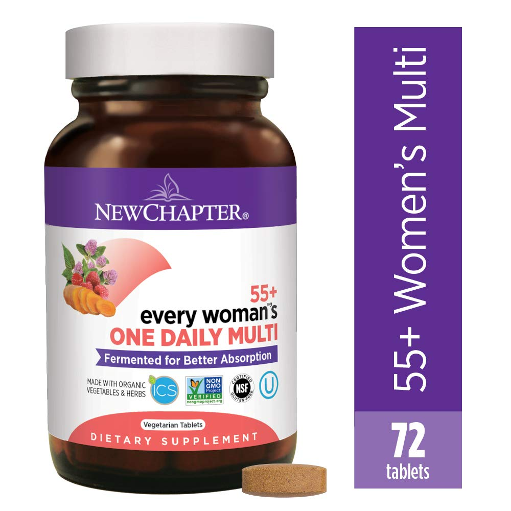 New Chapter Multivitamin for Women 50 plus - Every Woman's One Daily 55+ with Fermented Probiotics + Whole Foods + Astaxanthin + Organic Non-GMO Ingredients - 72 ct (Packaging May Vary) by New Chapter