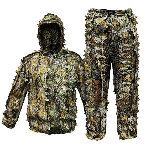 RUNPO Upgrade Ghillie Suit Outdoor 3D Lifelike Super Lightweight Hooded Camouflage Clothing Jungle Woodland Hunting Shooting (Fit Tall 5.9-6.2ft)