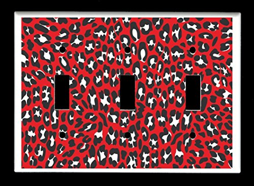 Triple Toggle (3-toggle) Light Switch Plate Cover - Leopard Animal Print By PKS - Color #09 Red ()