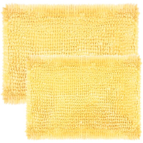Sweet Home Collection Bath Set 2 Piece Butter Chenille Noodle Soft Luxurious Rugs Absorbent Non Slip Latex Back Microfiber Bathroom Mat, ((1) 17