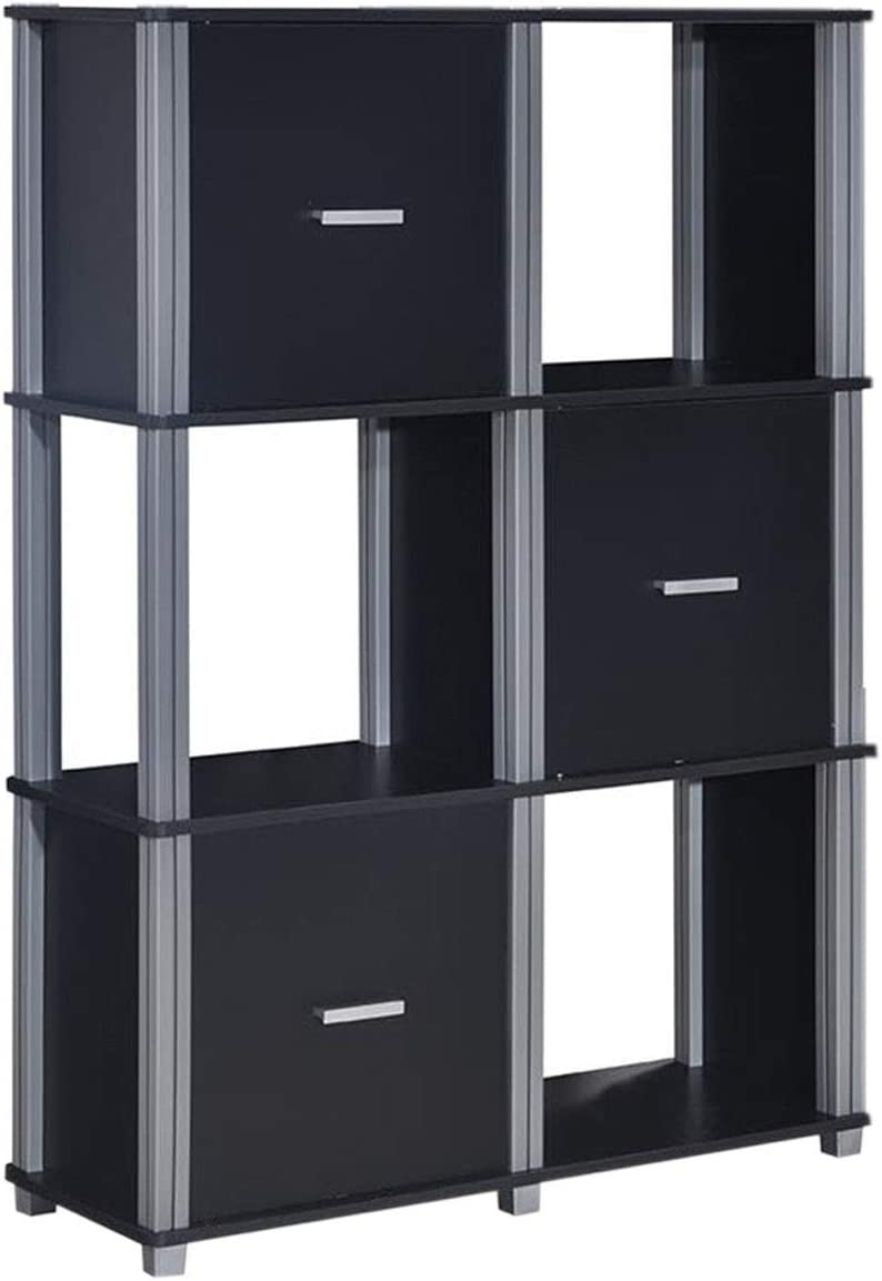 Tangkula Storage Shelf 3-Tier Utility Shelf Multifunctional Storage Cabinet Organizer Rack Display Stand Bookcase Bookshelf Black