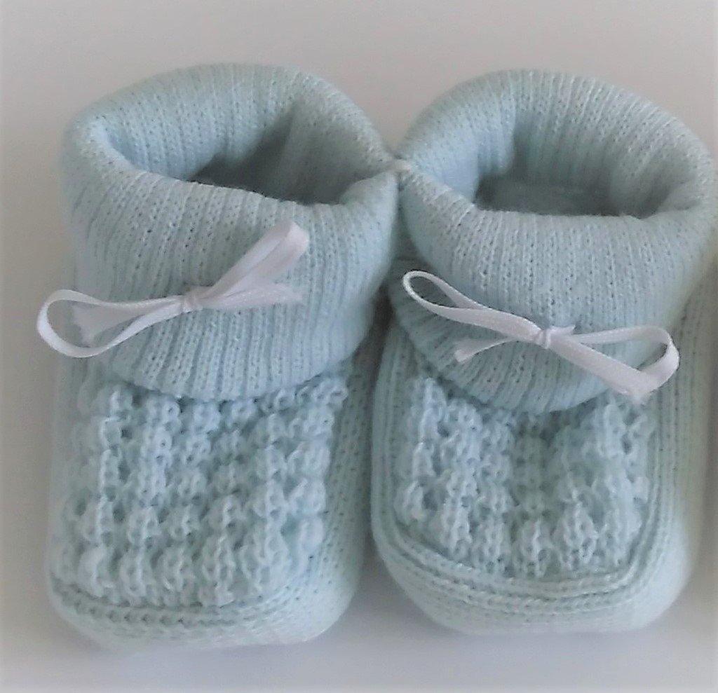 Par de zapatillas//patucos para bebe/ azul o blanco azul Talla:nouveau-ne /0/meses rosa Creme