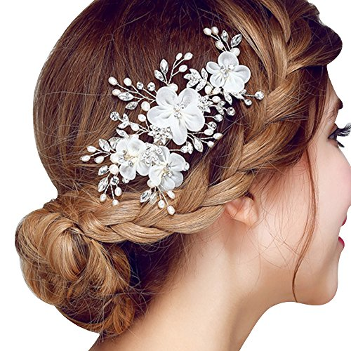 [Happy Hours - Women Pearl Rhinestone Handmade Hairpins / Floral Shaped Design Barrette Clips for Wedding Prom Bridal Bridesmaid Jewelry] (Girls Jade Princess Costumes)