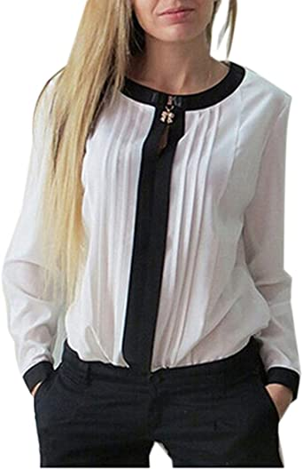 Blusa Camisa Gasa Color Sólido Camiseta Mujer Mangas Largas Elegante Oficina Casual: Amazon.es: Ropa y accesorios